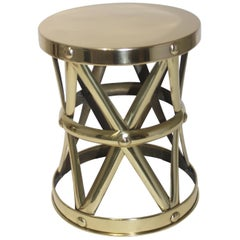 Polished Brass Drum Table by Sarried Ltd