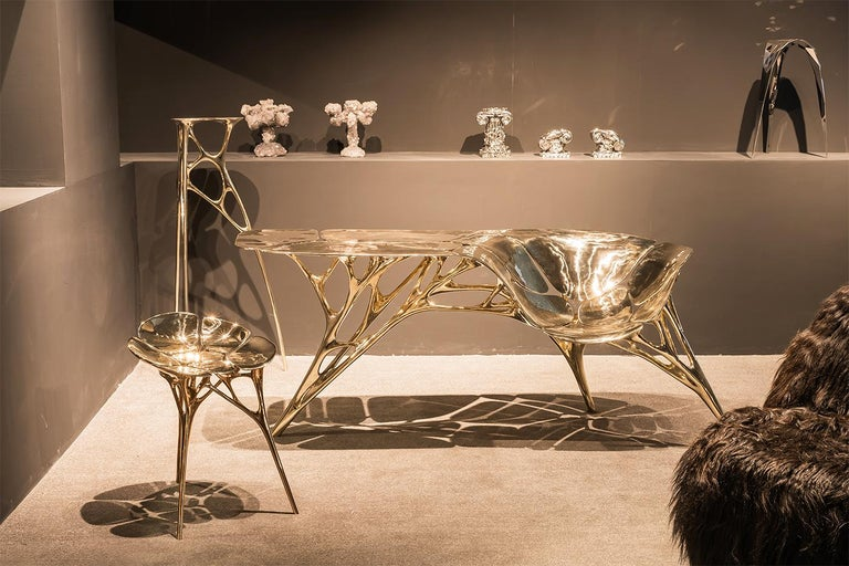 Chinese Polished Brass Gold Lotus Pedestal/Planter Stand/Accent Table by Zhipeng Tan For Sale