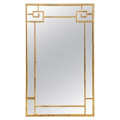 Polished Brass Greek Key Mirror by Bernhard Rohne for Mastercraft