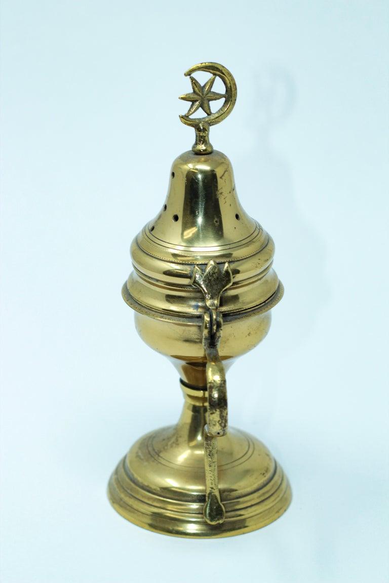 Hammered Polished Brass Incense Burner with Crescent Moon and Star Symbol For Sale