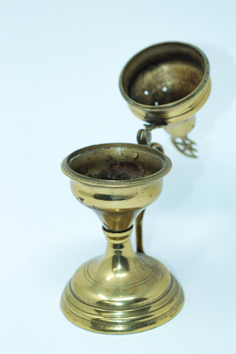 Polished Brass Incense Burner with Crescent Moon and Star Symbol In Good Condition For Sale In North Hollywood, CA