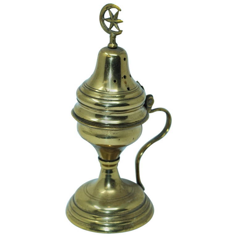 Polished Brass Incense Burner with Crescent Moon and Star Symbol For Sale