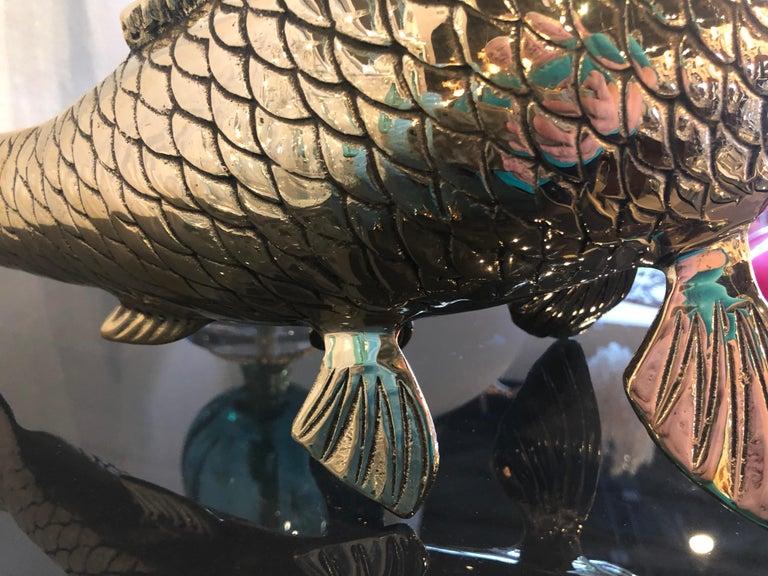 Polished Brass Koi Fish Monumental Statue Vintage Hollywood Regency For Sale 2