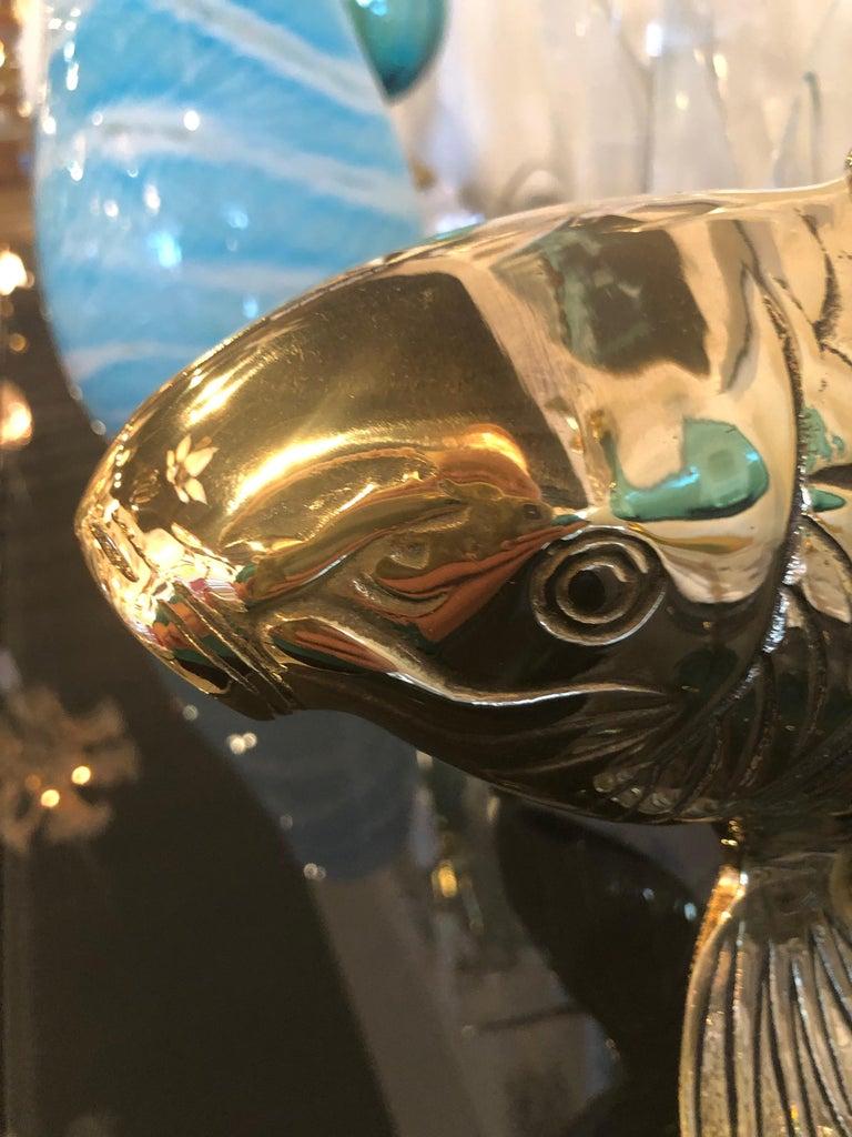 Polished Brass Koi Fish Monumental Statue Vintage Hollywood Regency For Sale 3