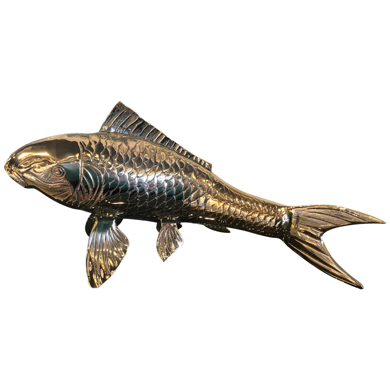 Polished Brass Koi Fish Monumental Statue Vintage Hollywood Regency