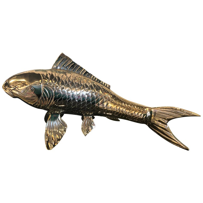 Polished Brass Koi Fish Monumental Statue Vintage Hollywood Regency For Sale