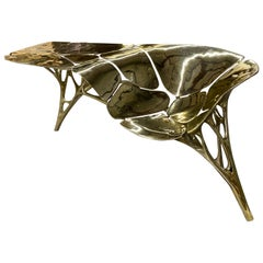 Polished Brass Lotus Console Table/Telephone Table/Entryway Table in Gold Color