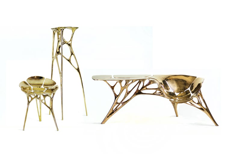 Chinese Polished Brass Lotus Pedestal/Planter Stand/Accent Table by Zhipeng Tan For Sale