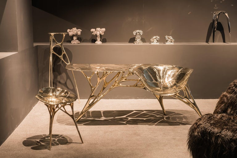 Polished Brass Lotus Pedestal/Planter Stand/Accent Table by Zhipeng Tan In New Condition For Sale In Beverly Hills, CA