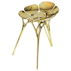 Polished Brass Lotus Stool/Chair in Gold or Rose Gold Color Finish