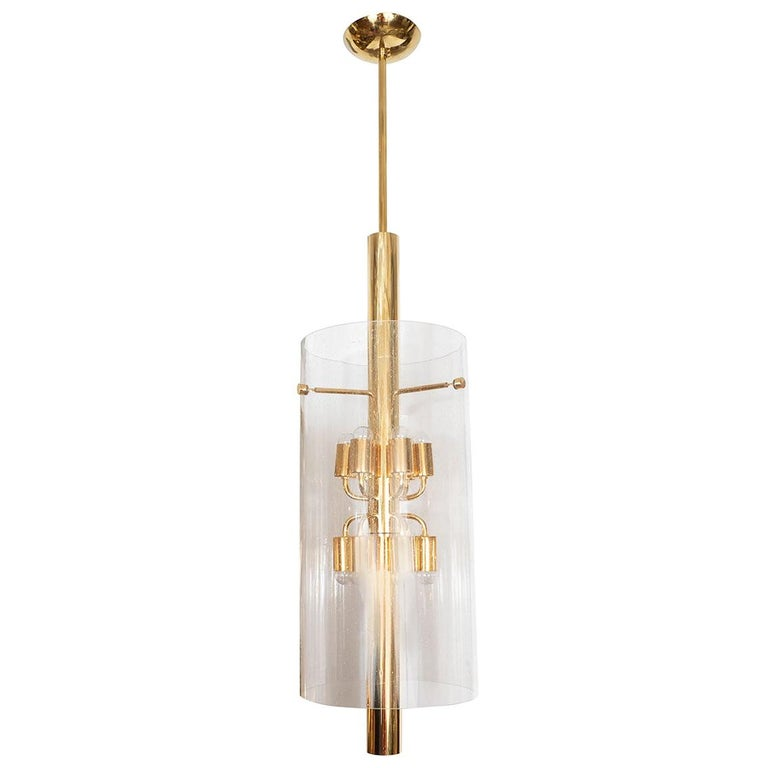 Polished Brass Pendant Fixture with Glass Shade For Sale
