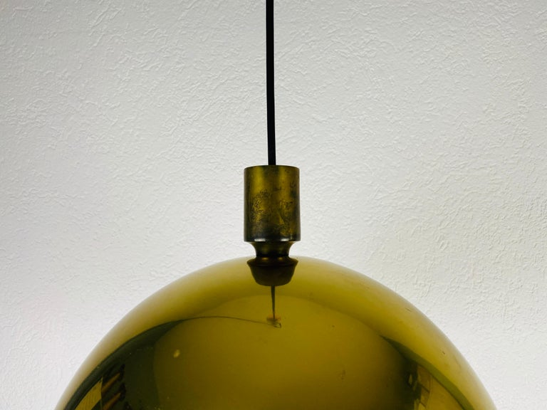 Polished Brass Pendant Lamp by Florian Schulz, 1970s, Germany For Sale 5