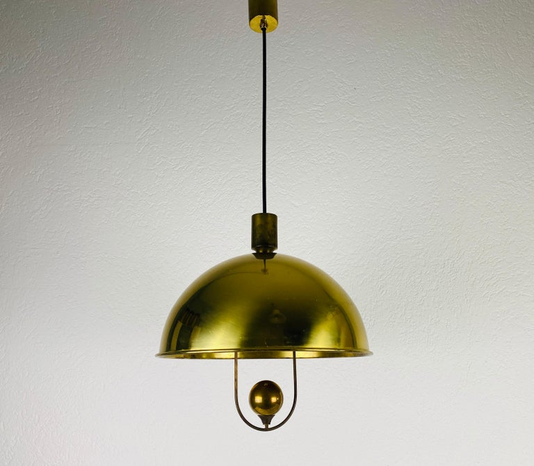 Polished Brass Pendant Lamp by Florian Schulz, 1970s, Germany For Sale 6