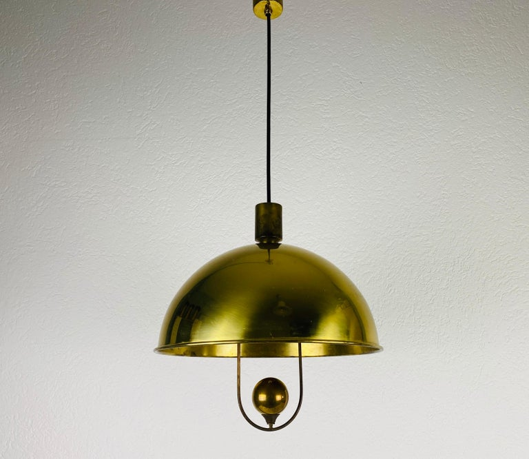 Polished Brass Pendant Lamp by Florian Schulz, 1970s, Germany For Sale 7