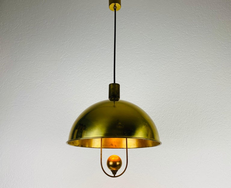 Mid-Century Modern Polished Brass Pendant Lamp by Florian Schulz, 1970s, Germany For Sale