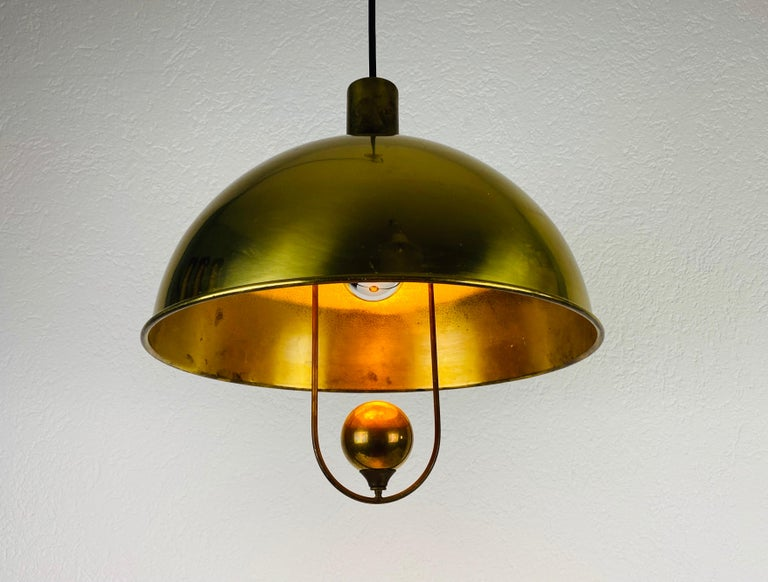 Late 20th Century Polished Brass Pendant Lamp by Florian Schulz, 1970s, Germany For Sale