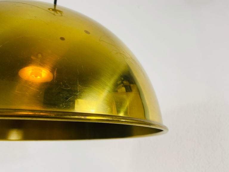 Polished Brass Pendant Lamp by Florian Schulz, 1970s, Germany For Sale 1