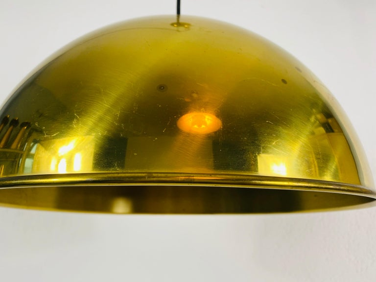 Polished Brass Pendant Lamp by Florian Schulz, 1970s, Germany For Sale 2