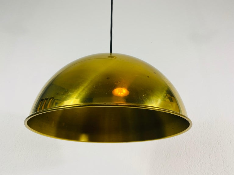 Polished Brass Pendant Lamp by Florian Schulz, 1970s, Germany For Sale 3