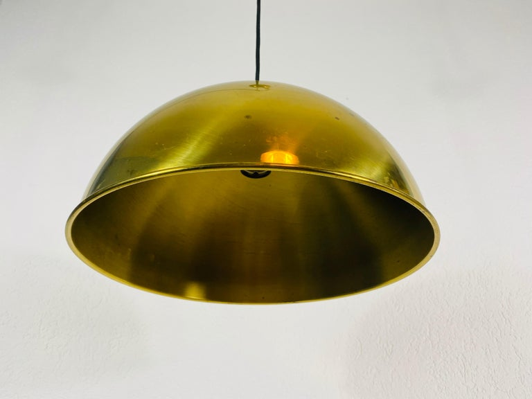 Polished Brass Pendant Lamp by Florian Schulz, 1970s, Germany For Sale 4