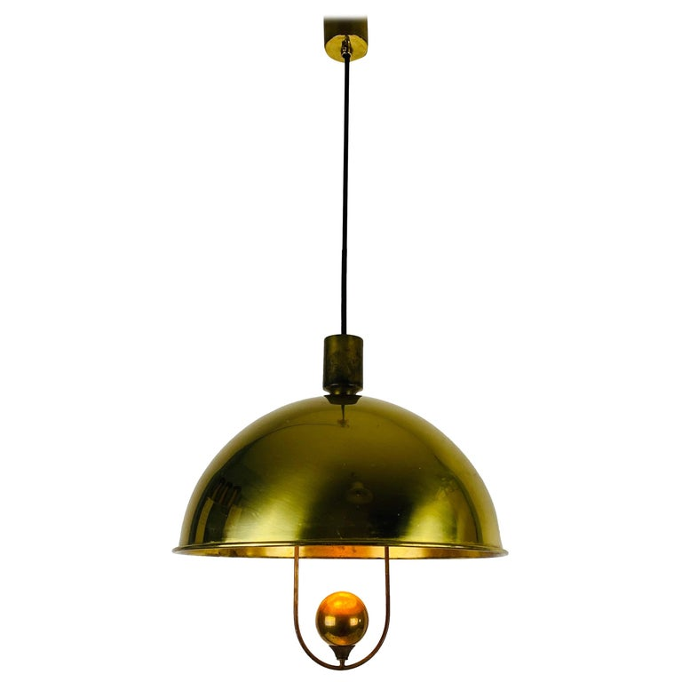 Polished Brass Pendant Lamp by Florian Schulz, 1970s, Germany For Sale