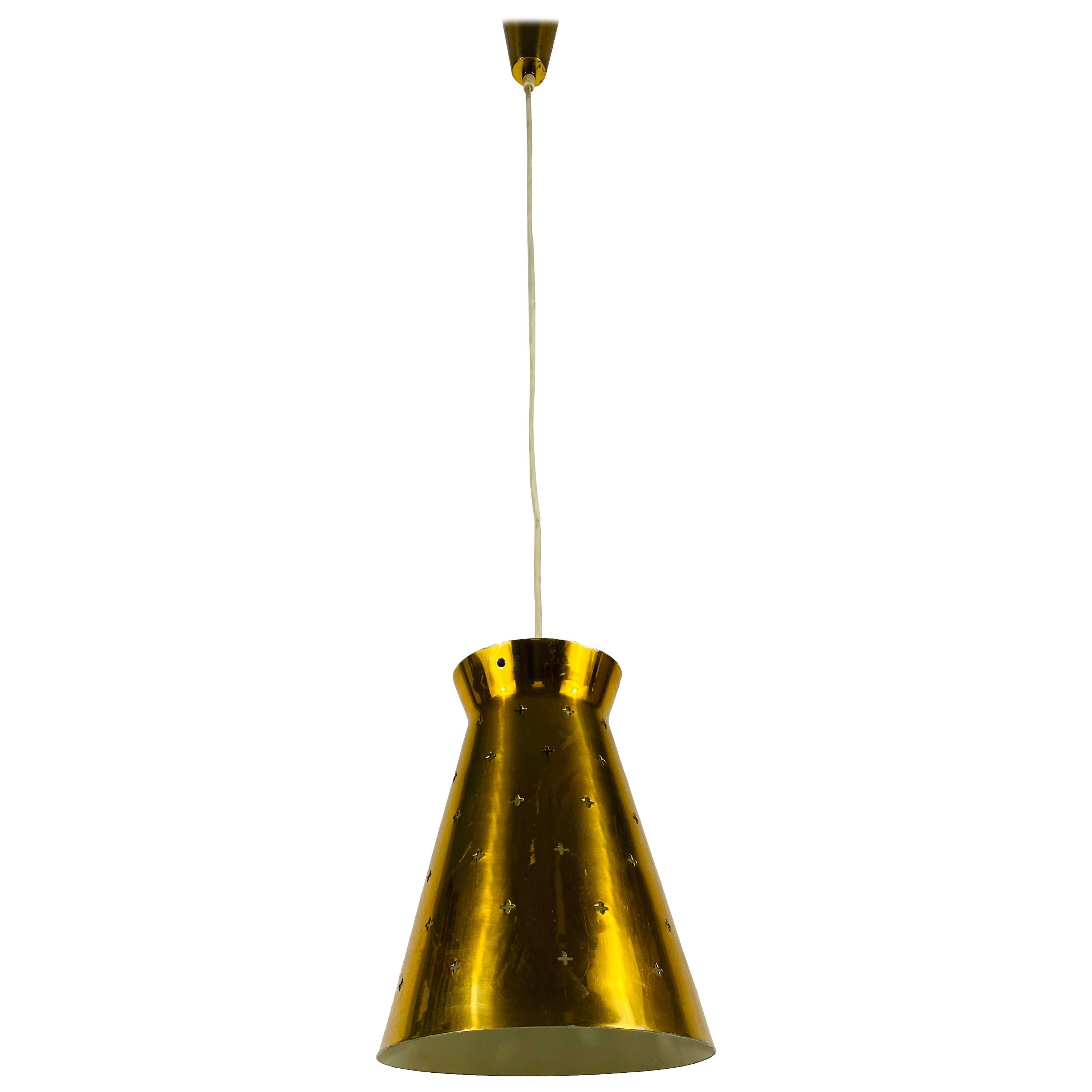 Polished Brass Pendant Lamp in the Style of Paavo Tynell, 1950s