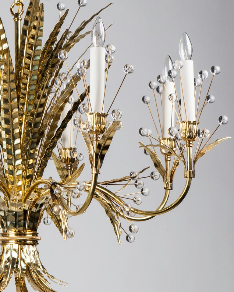Modern Polished Brass Plume 8 Chandelier Designed by Tony Duquette for Remains Lighting For Sale