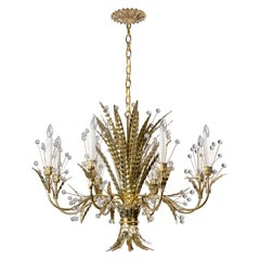 Polished Brass Plume 8 Chandelier Designed by Tony Duquette for Remains Lighting
