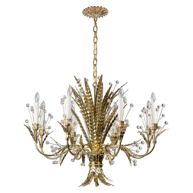 Polished Brass Plume 8 Chandelier Designed by Tony Duquette for Remains Lighting For Sale