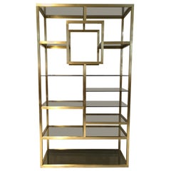 Polished Brass Shelving Attributed to Romeo Rega