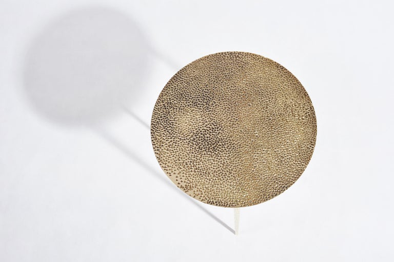 Modern Polished Brass Side Table Signed by Lukasz Friedrich For Sale