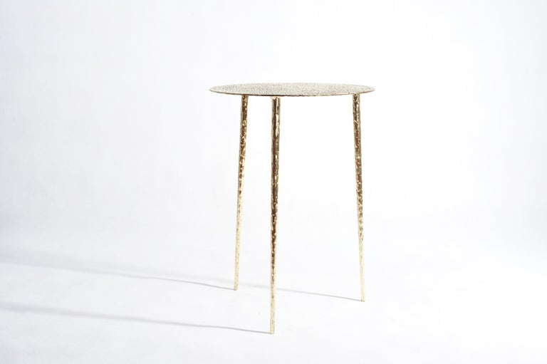 European Polished Brass Side Table Signed by Lukasz Friedrich For Sale