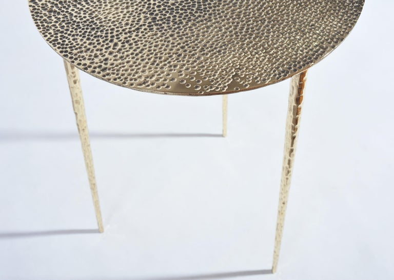 Contemporary Polished Brass Side Table Signed by Lukasz Friedrich For Sale