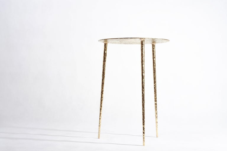 Polished Brass Side Table Signed by Lukasz Friedrich For Sale 1