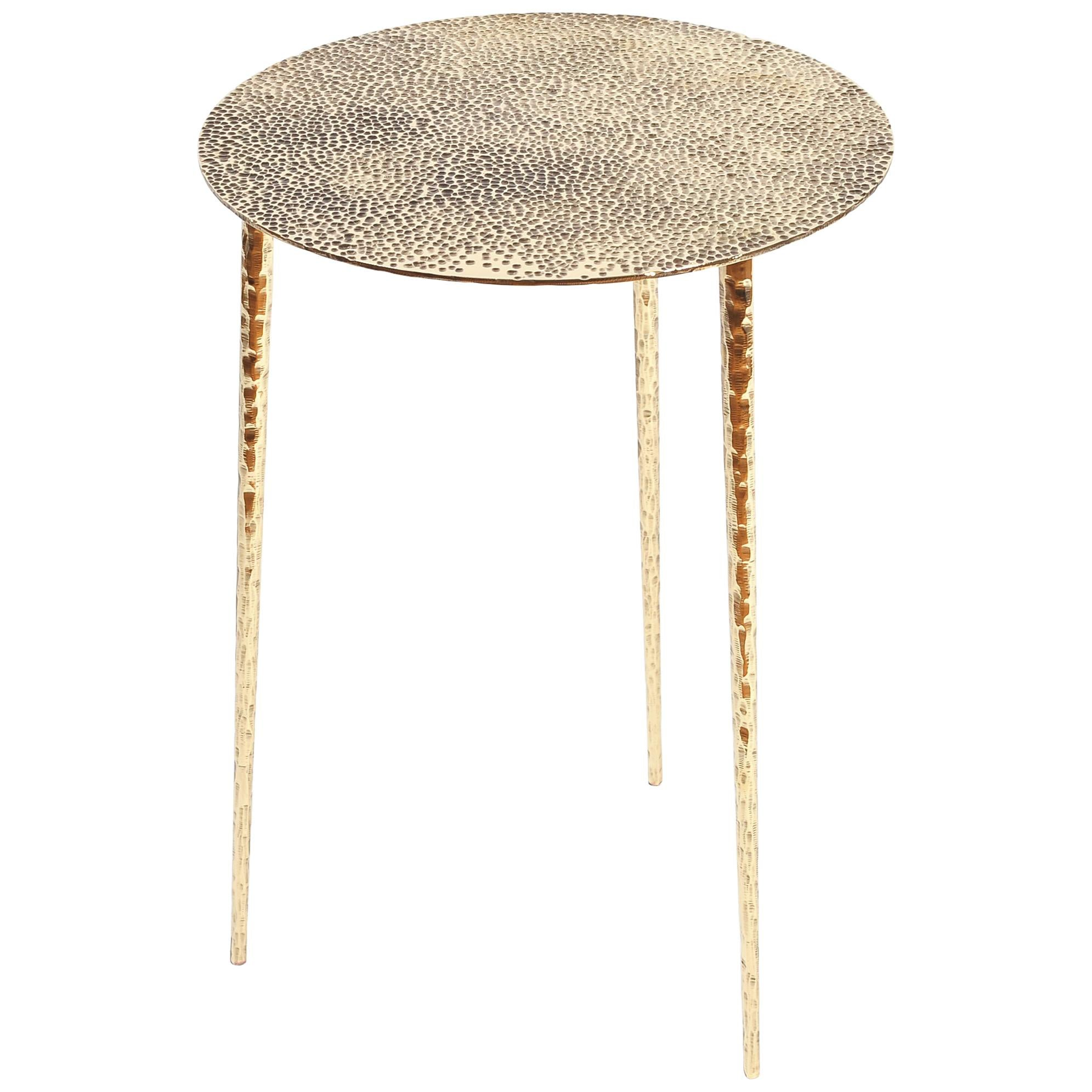 Polished Brass Side Table Signed by Lukasz Friedrich
