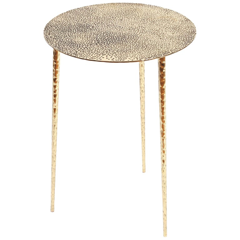 Polished Brass Side Table Signed by Lukasz Friedrich For Sale