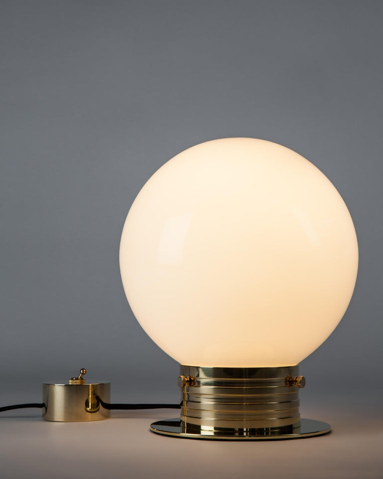 Modern Polished Brass Table Lamp with Milk Glass Globe Shade by Commune for Remains  For Sale