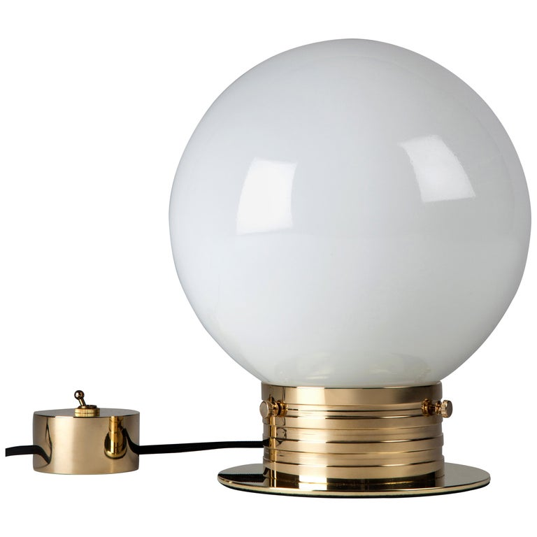 Polished Brass Table Lamp with Milk Glass Globe Shade by Commune for Remains  For Sale