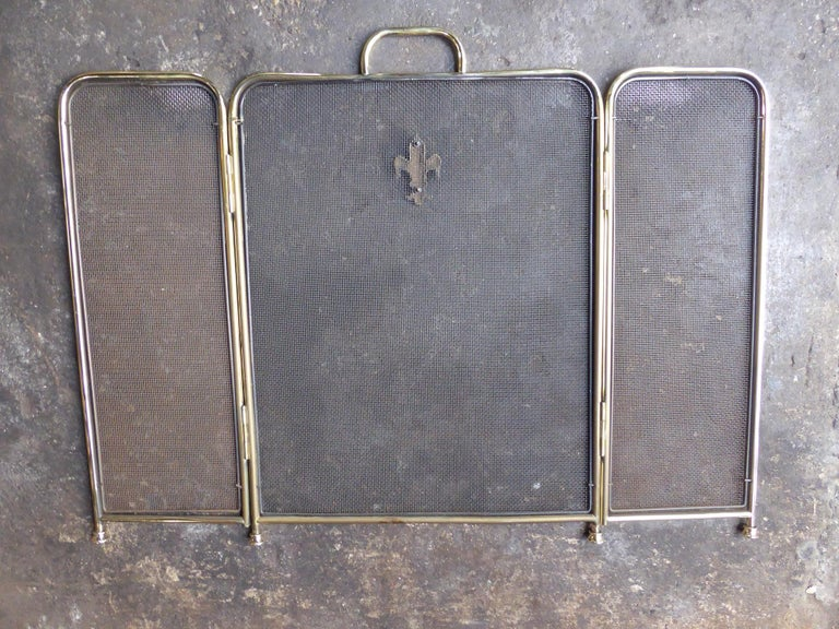 Polished Brass Victorian Style Fireplace Screen or Fire Screen For Sale 5