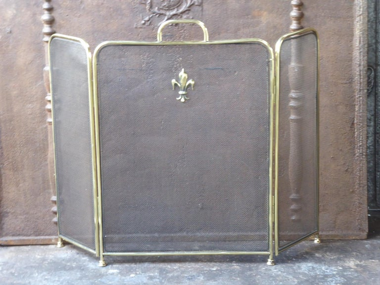 English Victorian style fireplace screen made of polished brass and iron mesh.