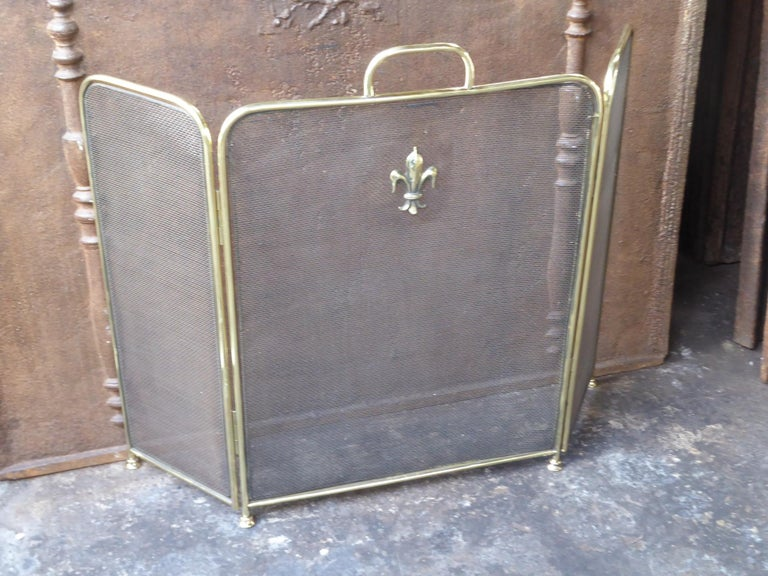 Polished Brass Victorian Style Fireplace Screen or Fire Screen In Good Condition For Sale In Amerongen, NL