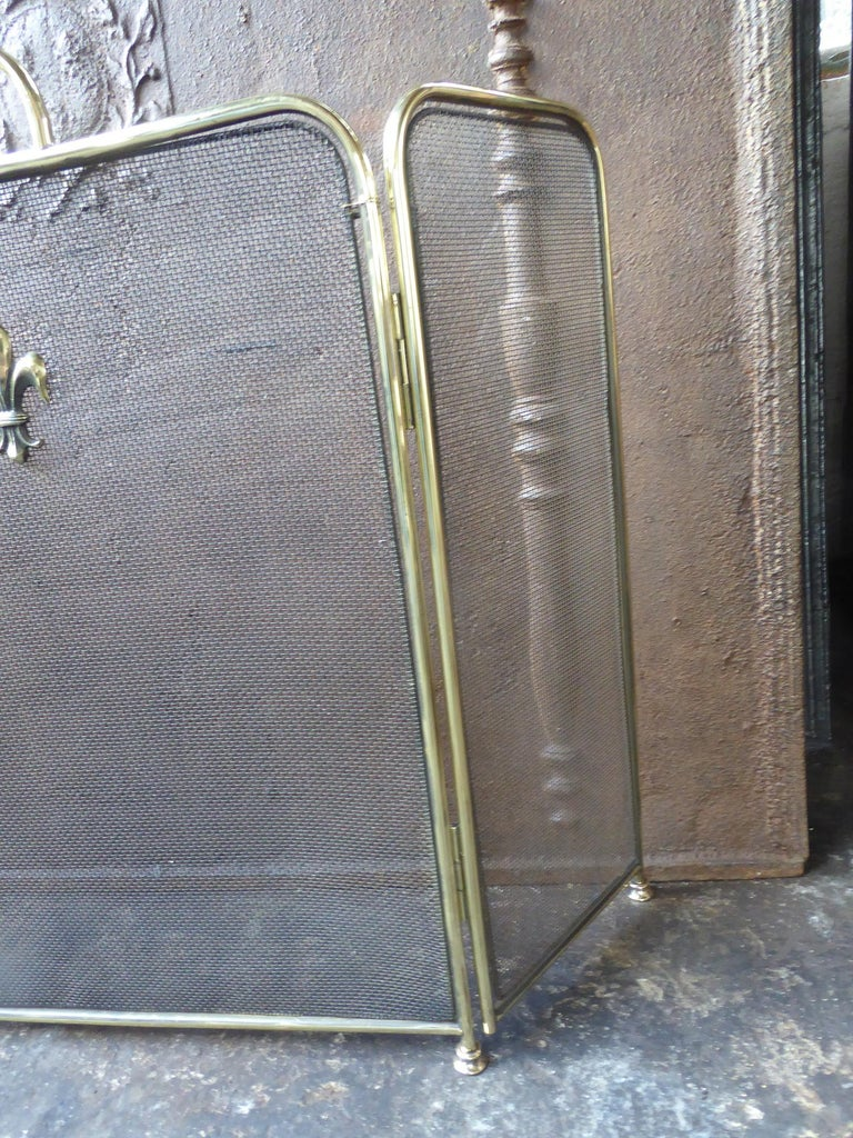 Polished Brass Victorian Style Fireplace Screen or Fire Screen For Sale 2