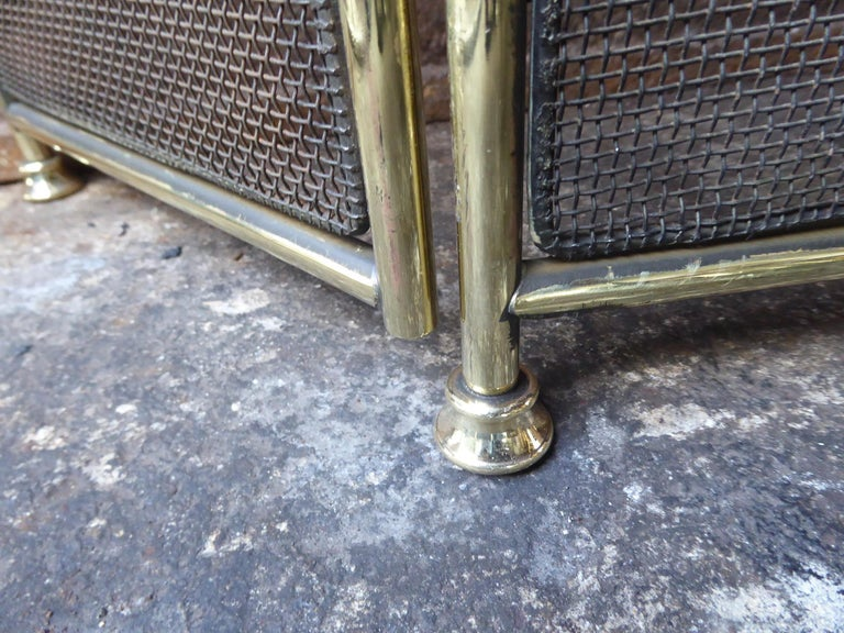 Polished Brass Victorian Style Fireplace Screen or Fire Screen For Sale 4