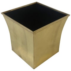 Polished Brass Wastebasket by Karl Springer