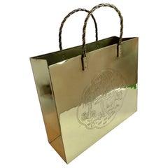 Polished Brass Waste Bin or Magazine Rack