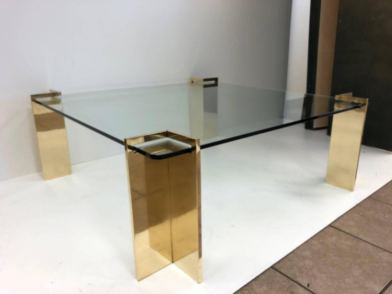 Mid-Century Modern Polished Bronze and Glass Coffee Table For Sale