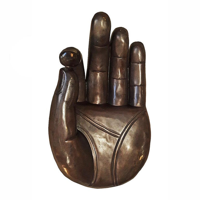 Contemporary Polished Bronze Buddha Hand For Sale