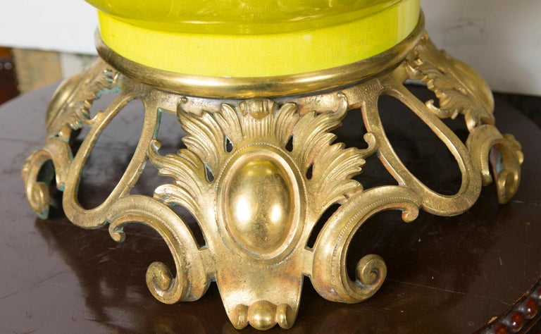 Glazed Polished Bronze-Mounted Tall Japanese Vase For Sale