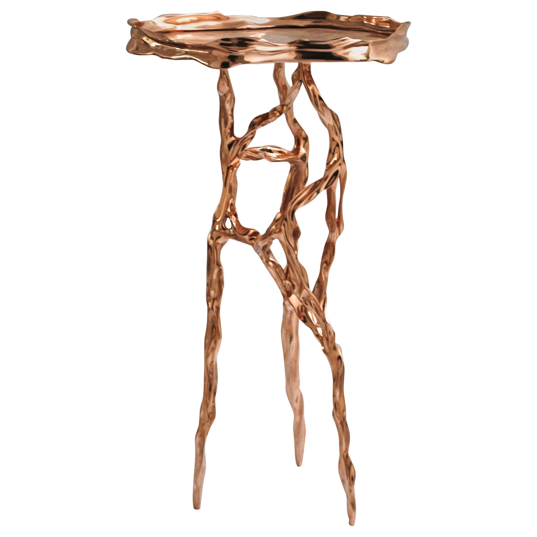 Polished Bronze Side Table by FAKASAKA Design