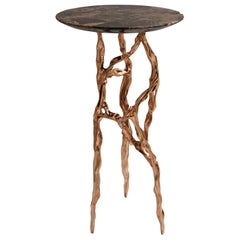 Polished Bronze Side Table with Marquina Marble Top